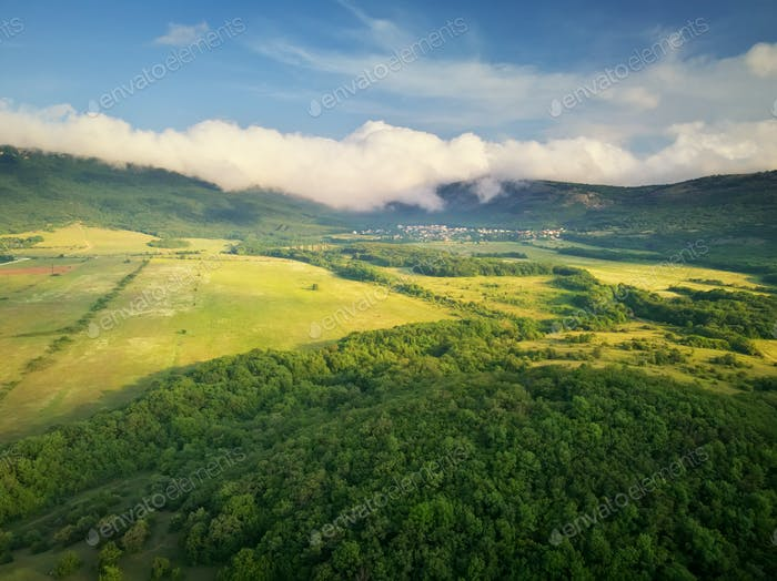 Scenic aerial view of beautiful landscape of the valley