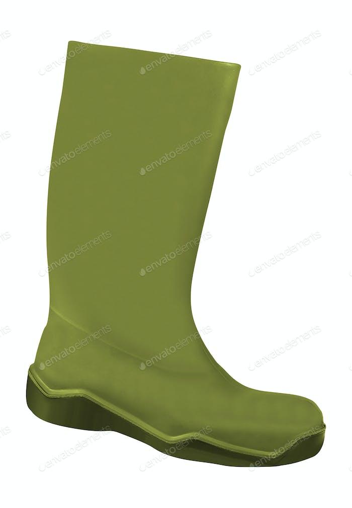 Grüne Gummistiefel auf weißem Hintergrund