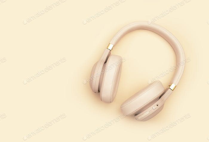 Pink Wireless Headphones on pale pink pastel background