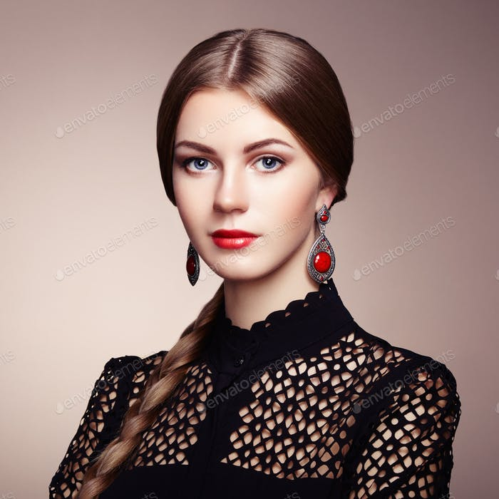 Thumbnail for Fashion portrait of elegant woman with magnificent hair