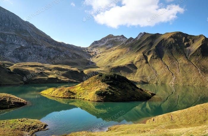 alpine lake in sunny day