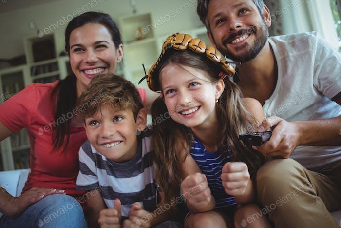 Family having fun in living room
