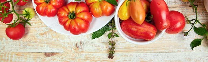 Banner with Mix of tomatoes background. Beautiful juicy organic red tomatoes