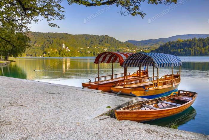 Traditional Pletna boats on lake Bled in Slovenia