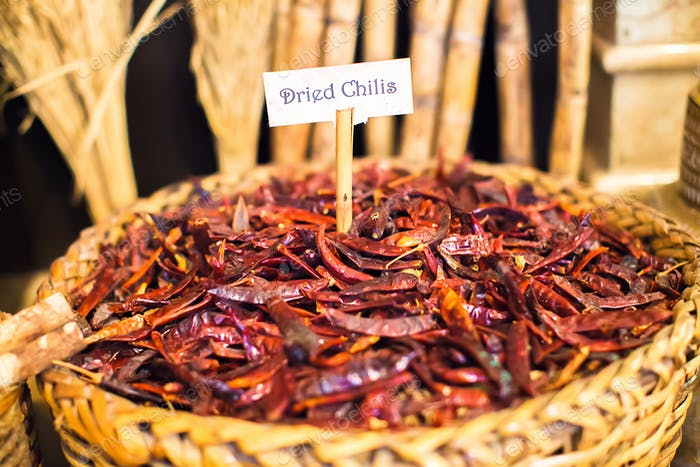 Dried chilis in a large basket