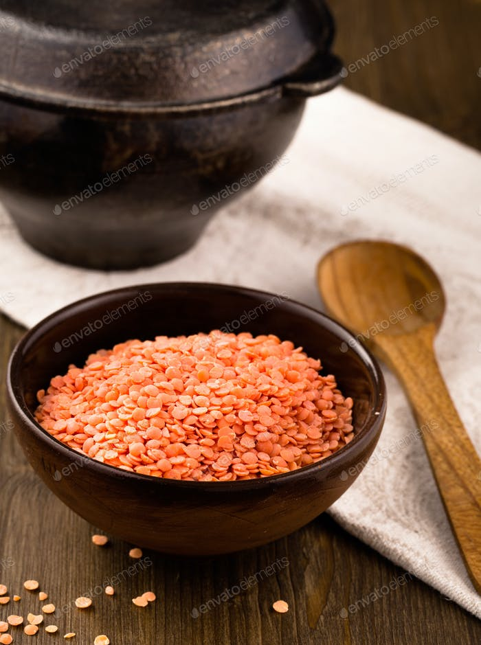 Clay bowl  of dry lentils