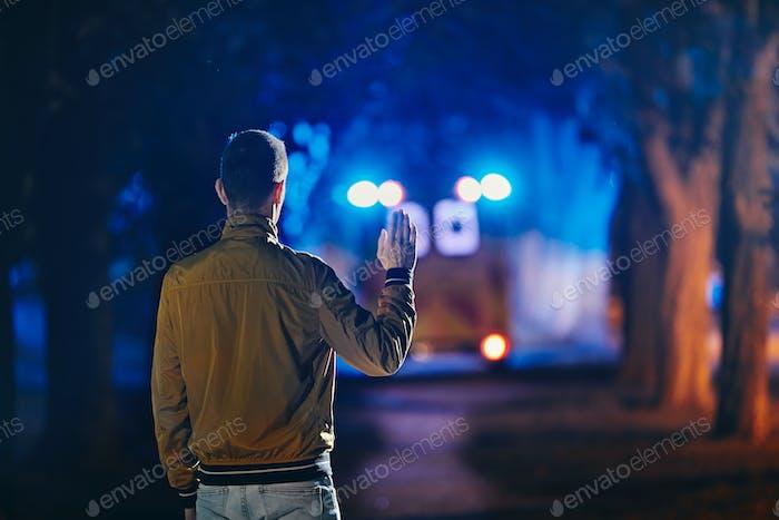 Leaving ambulance car