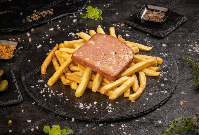 Leberkase or slice of meat loaf with cheese