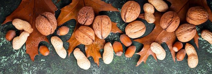 Mix of different nuts. Walnuts, peanuts and hazelnuts