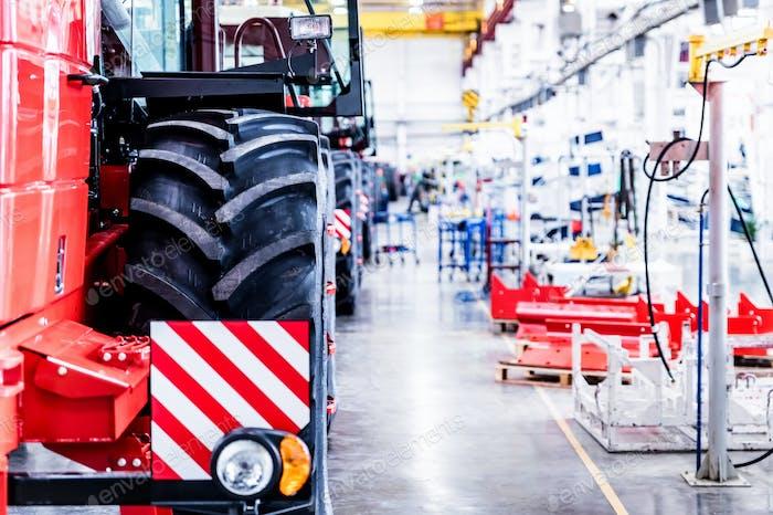 Assembly workshop at big industrial plant selective focus