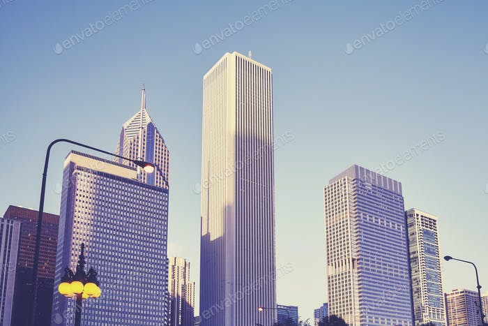 Color toned skyscrapers in Chicago downtown, USA