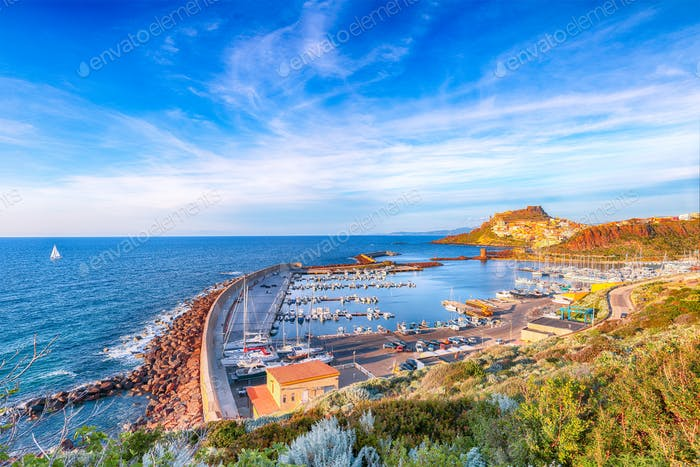 Awesome view of Medieval town of Castelsardo and port