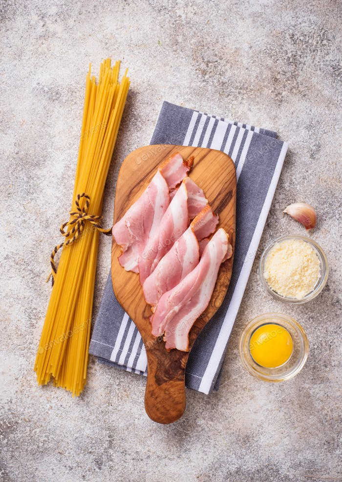 Ingredients for cooking pasta Carbonara