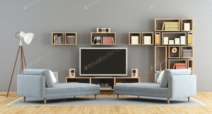 Living room with television set and bookcase