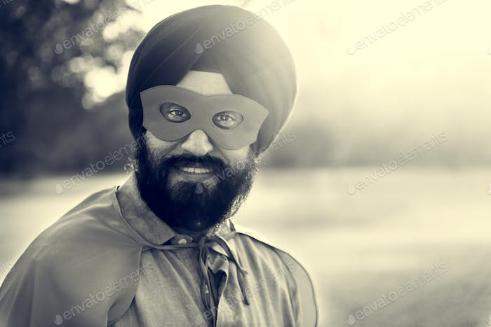 Indian Man Superhelden Power Konzept