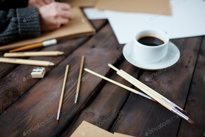 Coffee and paintbrushes