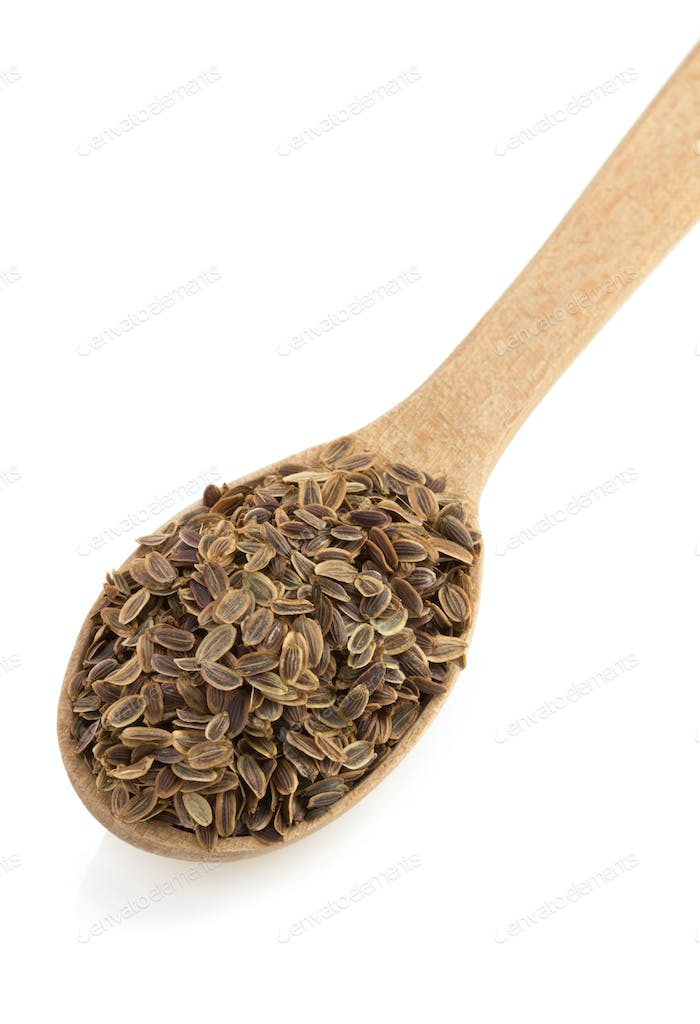 dried dill seeds in spoon