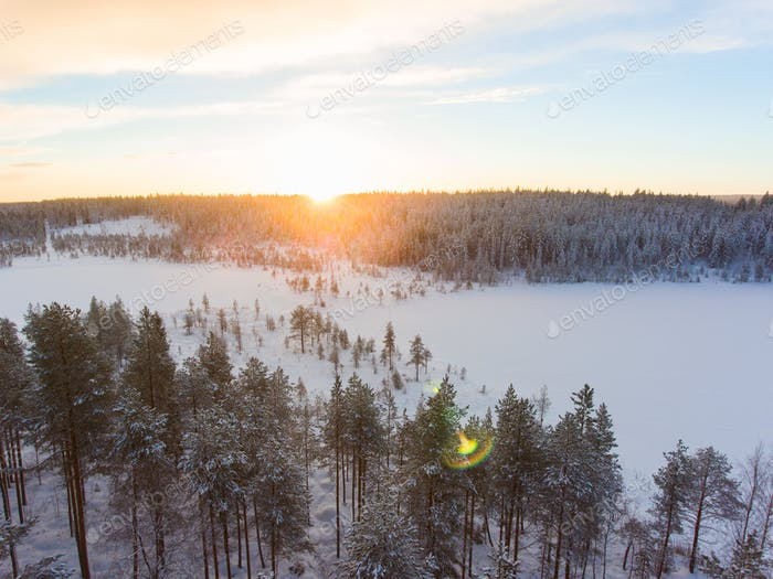 Aerial view of a Lapland winter landscape