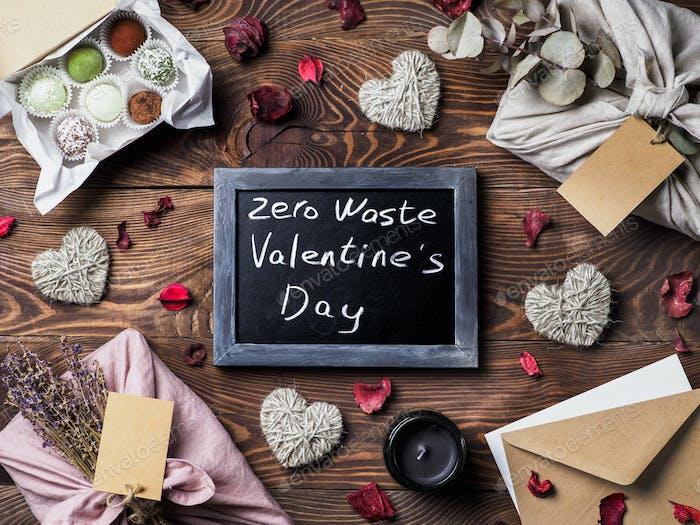 Zero waste Valentine's Day concept, copy space