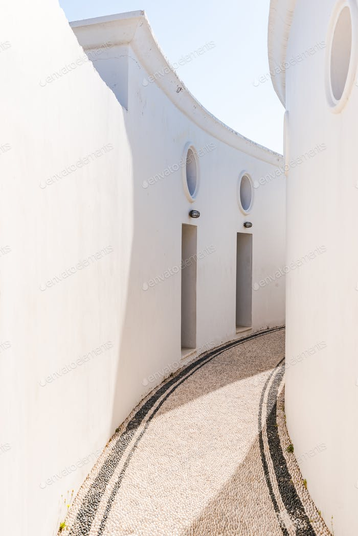 White Walls and pebbles, typical Greek Architecture