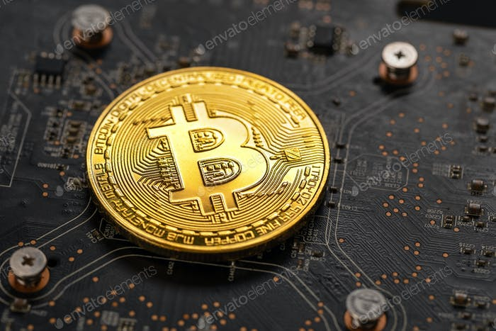 Gold bitcoin on crypto mining GPU circuit board computer hardware