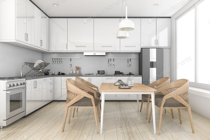 3d rendering white loft and clean kitchen and dining room