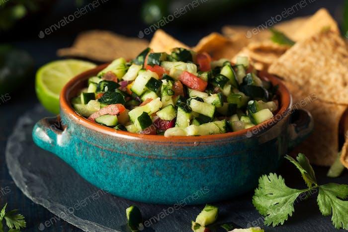 Raw Homemade Cucumber Pico De Gallo Salsa