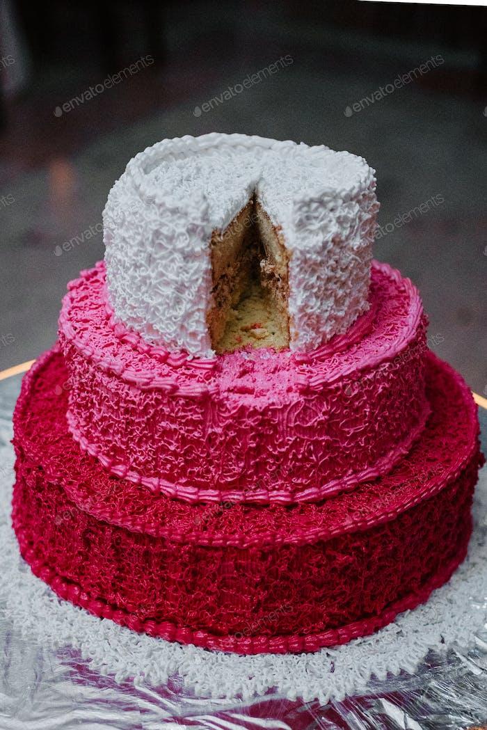 festive wedding sponge cake with white icing cream
