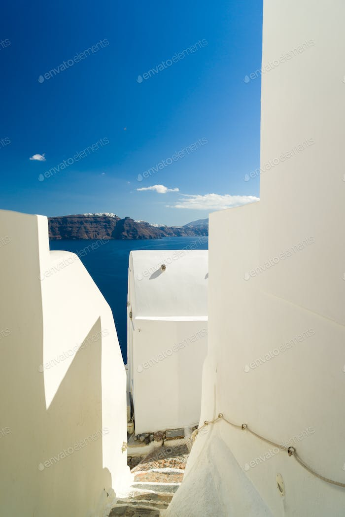 traditional style stairway of Santorini