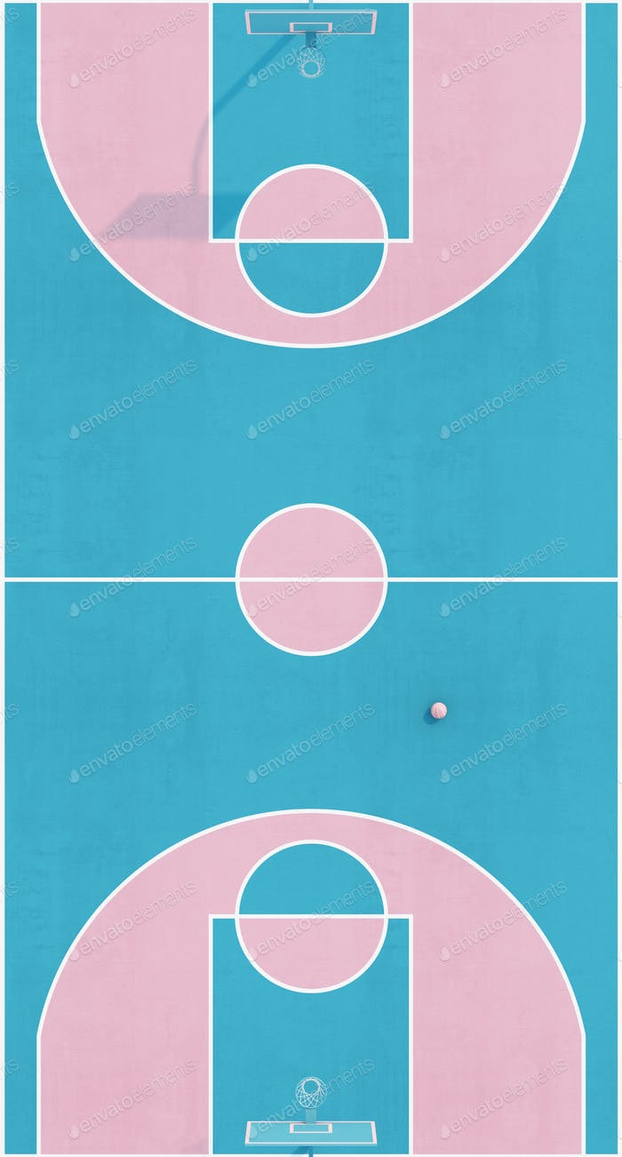Aerial view abstract pastel pink blue color basketball court with hoop and ball minimalistic