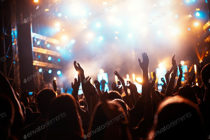 Party people enjoy concert at festival. Summer music festival