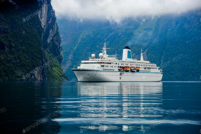 Cruise Liners On Geiranger fjord, Norway