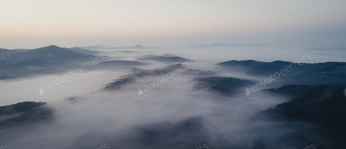 Landscape from air on misty day, serbia, Zlatibor area.