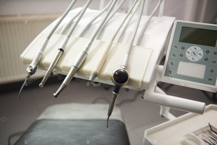 Shot of basic equipment of the dentist