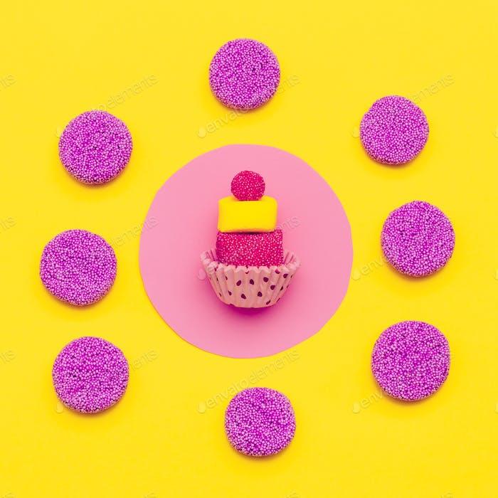 Sweet mood. Minimal Flatlay Candy art