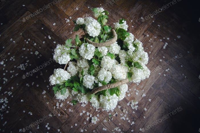 top view of white flowers in a wicker bag
