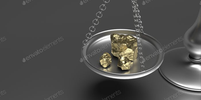 Gold rock scale weighs gold nuggets on grey background. 3d illustration
