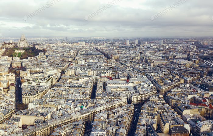 aerial view of sacre coeur in paris france