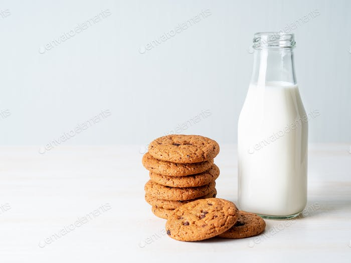 Chocolate oatmeal cookies and milk