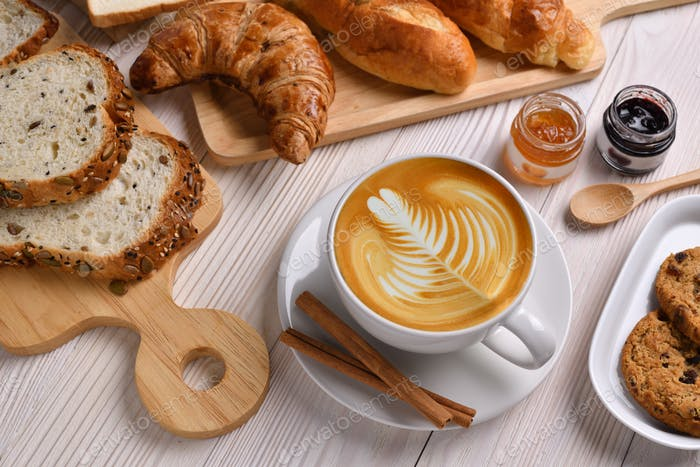 COFFEE CUP, BREAKFAST,BREAD,BAKERY