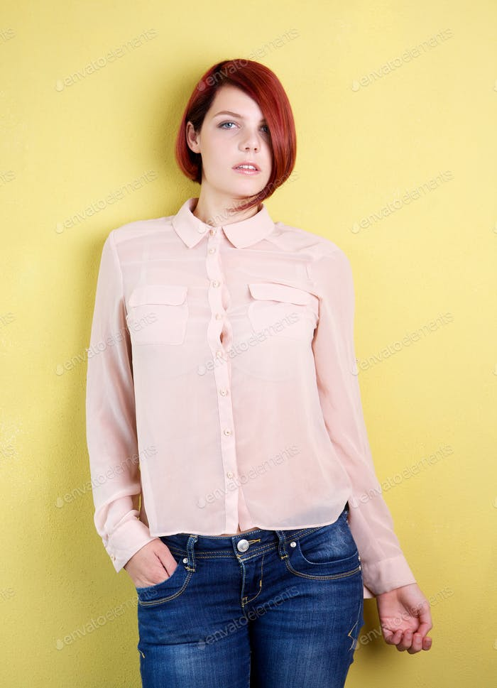 Female fashion model with short red hair
