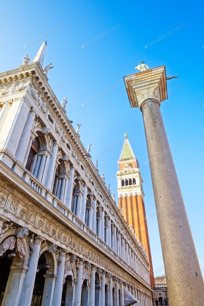 Scenic view of campanile on San Marco square in Venice