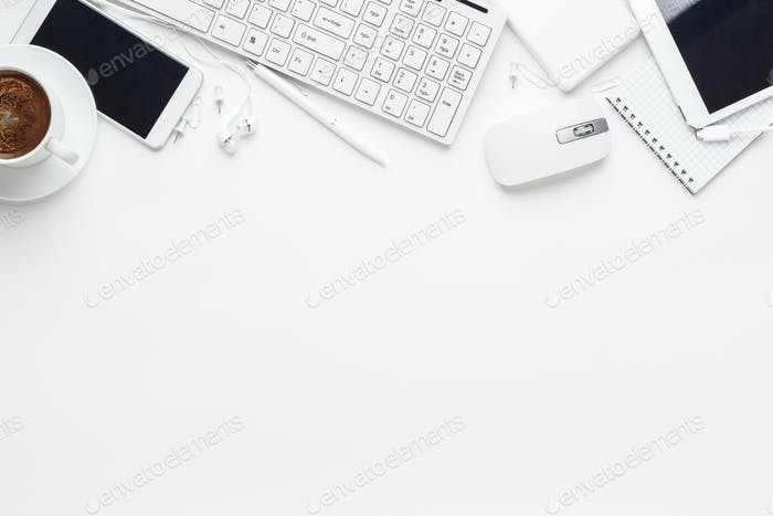 Overhead Of White Office Table
