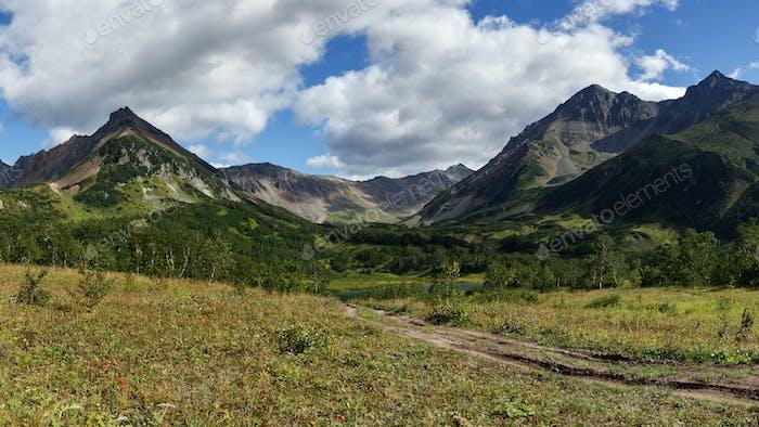 Scenery Early Autumn Panorama Mountain Landscape of Kamchatka Peninsula