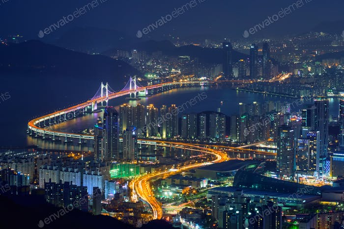 Busan cityscape Gwangan Bridge  at night