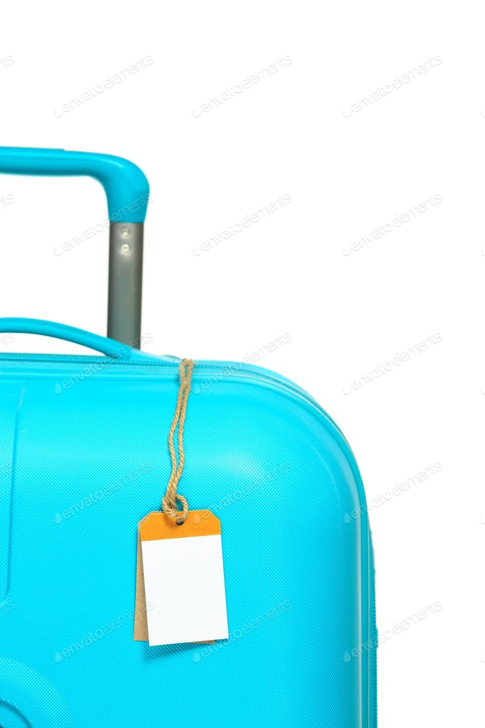 The modern large suitcase on white background