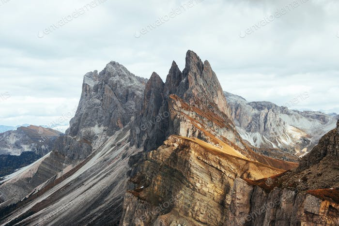 Dangerous slopes. Outstanding hills of the Seceda dolomite mountains at daytime
