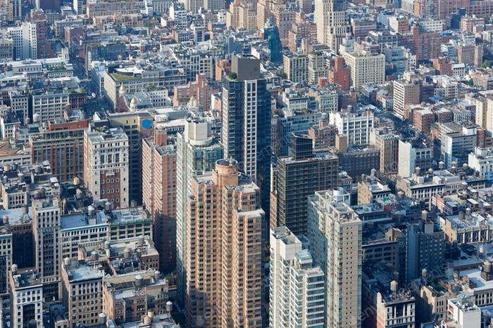 New York City Manhattan skyline aerial view with buildings