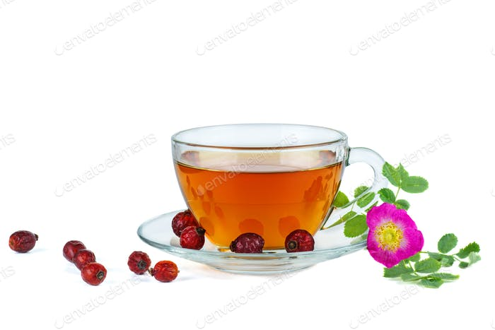 Herbal tea, dried hips berries and dog-rose flower