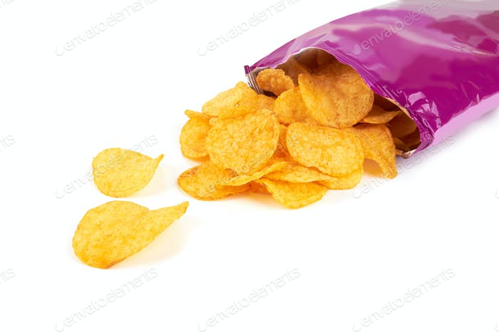 Potato chips bag isolated on white background